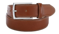 Full Grain Leather Belt White Stitching